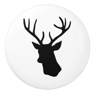 Silueta blanco y negro de la cabeza del macho de pomo de cerámica