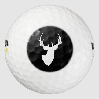 Silueta blanco y negro de los ciervos pack de pelotas de golf