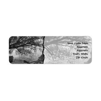 Silueta blanco y negro del árbol etiquetas de remite