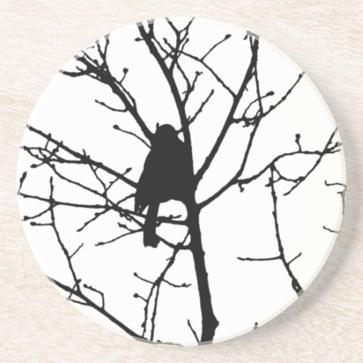 Silueta blanco y negro del chickadee en un árbol posavasos para bebidas