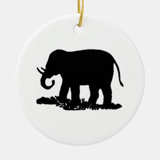 Silueta blanco y negro del elefante adorno redondo de cerámica