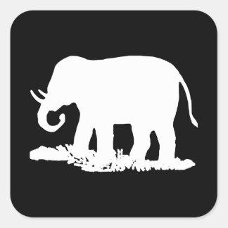 Silueta blanco y negro del elefante pegatina