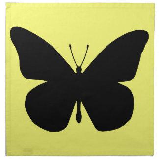 Silueta bonita de la mariposa de monarca en amaril servilletas de papel