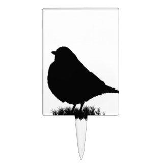 Silueta breasted rojo americano del pájaro del figura para tarta