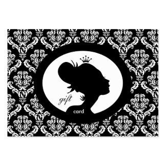 Silueta BW de la mujer de la corona de la tarjeta Tarjetas De Visita Grandes