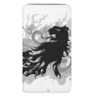 Silueta, cabeza negra del león con las llamas funda acolchada para galaxy s5