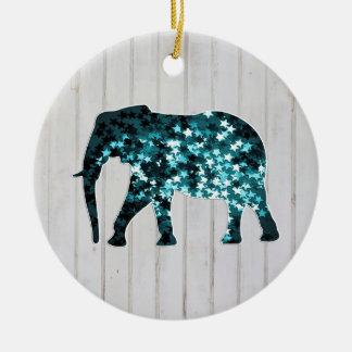 Silueta caprichosa del elefante de las chispas de adorno redondo de cerámica