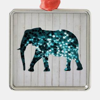 Silueta caprichosa del elefante de las chispas de adorno cuadrado plateado