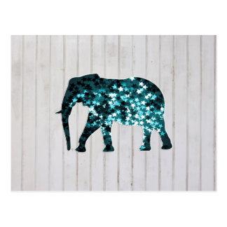 Silueta caprichosa del elefante de las chispas de  tarjetas postales