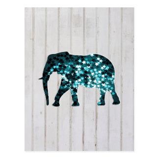 Silueta caprichosa del elefante de las chispas de  tarjeta postal