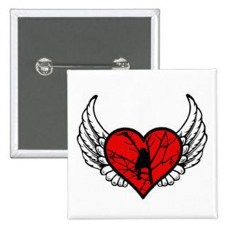 Silueta coa alas Chickadee de los pájaros del amor Pin Cuadrado