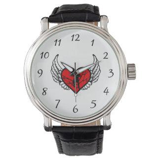 Silueta coa alas Chickadee de los pájaros del amor Relojes De Pulsera