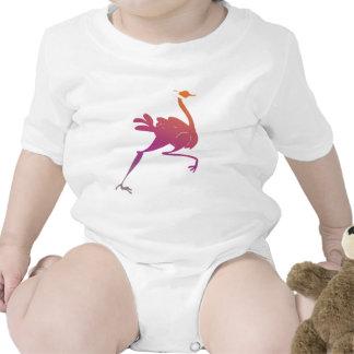 Silueta colorida de la avestruz trajes de bebé