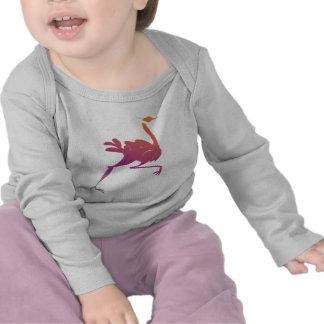 Silueta colorida de la avestruz camiseta
