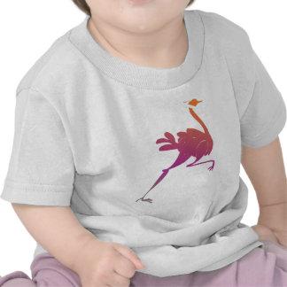 Silueta colorida de la avestruz camisetas