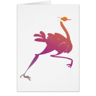 Silueta colorida de la avestruz tarjeta de felicitación
