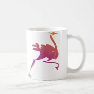 Silueta colorida de la avestruz tazas