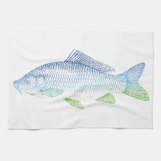 silueta colorida de los pescados toalla de cocina