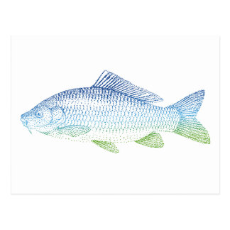 silueta colorida de los pescados tarjetas postales