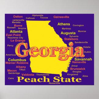 Silueta colorida del mapa del orgullo del estado póster