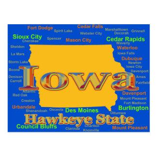 Silueta colorida del mapa del orgullo del estado tarjetas postales