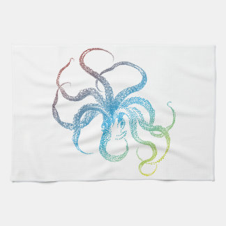 silueta colorida del pulpo toallas de mano