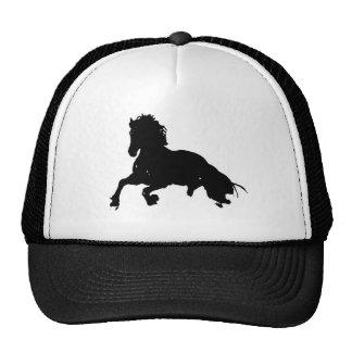 Silueta corriente blanca negra del caballo gorra