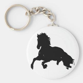Silueta corriente blanca negra del caballo llavero redondo tipo pin