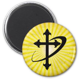 Silueta cruzada; amarillo imán para frigorifico