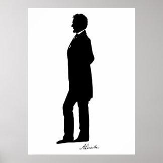Silueta de Abraham Lincoln Póster