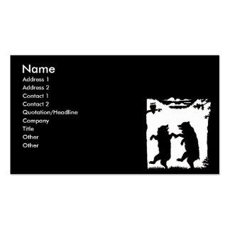 Silueta de baile del negro de los osos plantillas de tarjeta de negocio