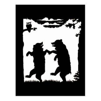 Silueta de baile del negro de los osos tarjetas postales