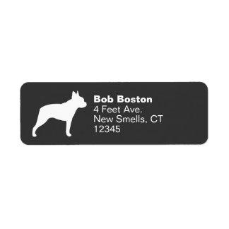 Silueta de Boston Terrier Etiquetas De Remite