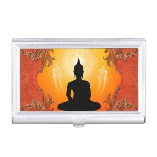 Silueta de Buda con la luz que brilla intensamente Cajas De Tarjetas De Negocios