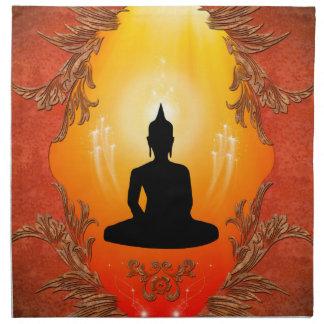 Silueta de Buda con la luz que brilla intensamente Servilletas De Papel