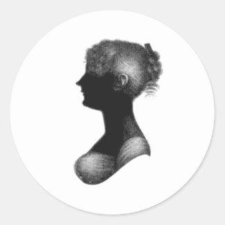 Silueta de Cassandra Austen Etiqueta Redonda