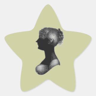 Silueta de Cassandra Austen Pegatina En Forma De Estrella