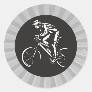 silueta de ciclo de lo contrario del clycer pegatina redonda