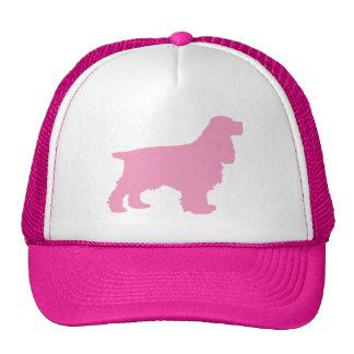Silueta de cocker spaniel en rosa gorros