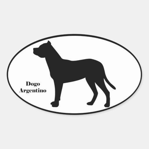 Silueta de Dogo Argentino Pegatina Ovalada