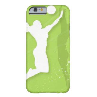 Silueta de dos mujeres que juegan a voleibol funda de iPhone 6 barely there