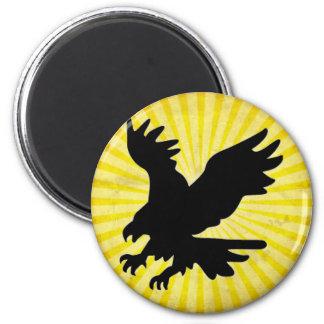 Silueta de Eagle calvo; amarillo Iman Para Frigorífico