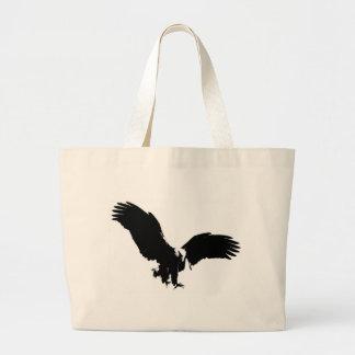 Silueta de Eagle calvo Bolsa De Tela Grande
