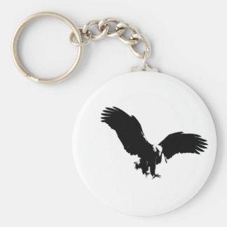 Silueta de Eagle calvo Llavero Redondo Tipo Pin
