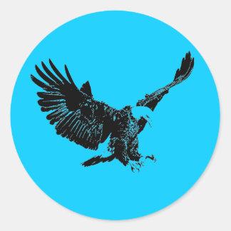 Silueta de Eagle del aterrizaje Pegatina Redonda