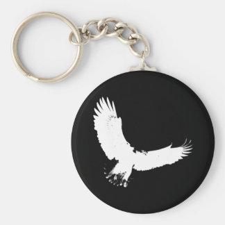 Silueta de Eagle Llavero Redondo Tipo Pin