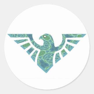 Silueta de Eagle - verde y azul Pegatina Redonda