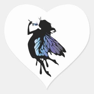 Silueta de hadas pegatina en forma de corazón