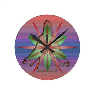 Silueta de Jesús en la estrella con el fondo multi Relojes De Pared