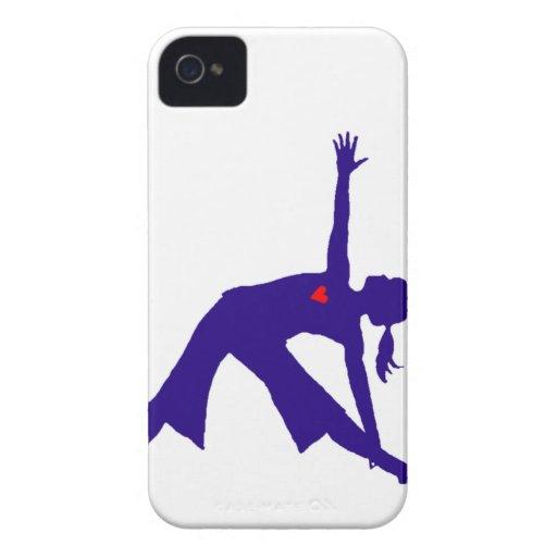 Silueta de la actitud del triángulo de la yoga con iPhone 4 protectores